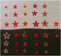 1/600 Red Stars With Yellow Border And Fine Black Trim
