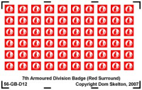 7th Armoured Division Vehicle Badges (Red Outer)
